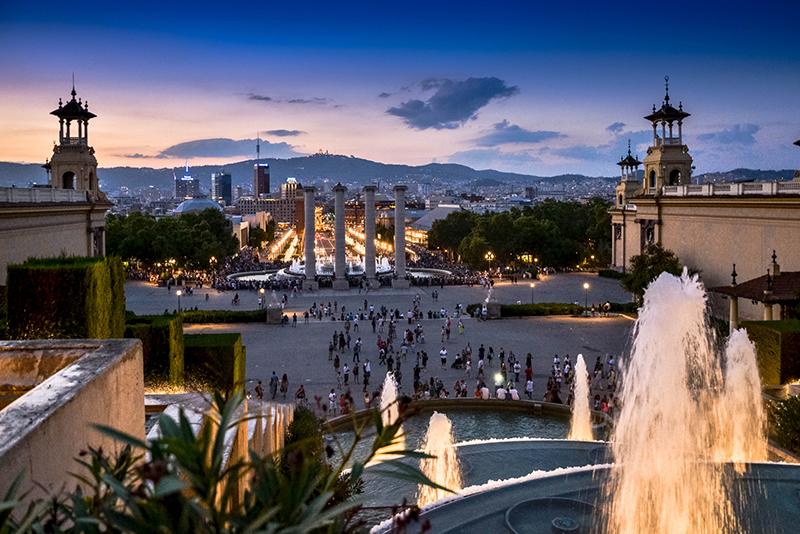 Vista da Fonte Mágica de Montjuic