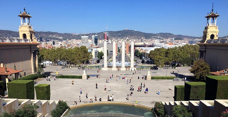 Vista do Castelo de Montjuic's em Barcelona