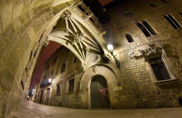 Região do Bairro Gótico em Barcelona