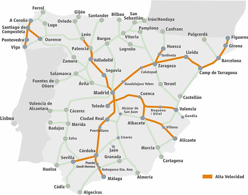 Mapa de rotas dos trens RENFE na Espanha