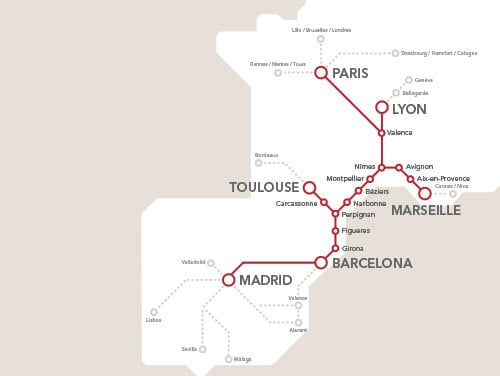 Mapa de trem de Barcelona a Madri