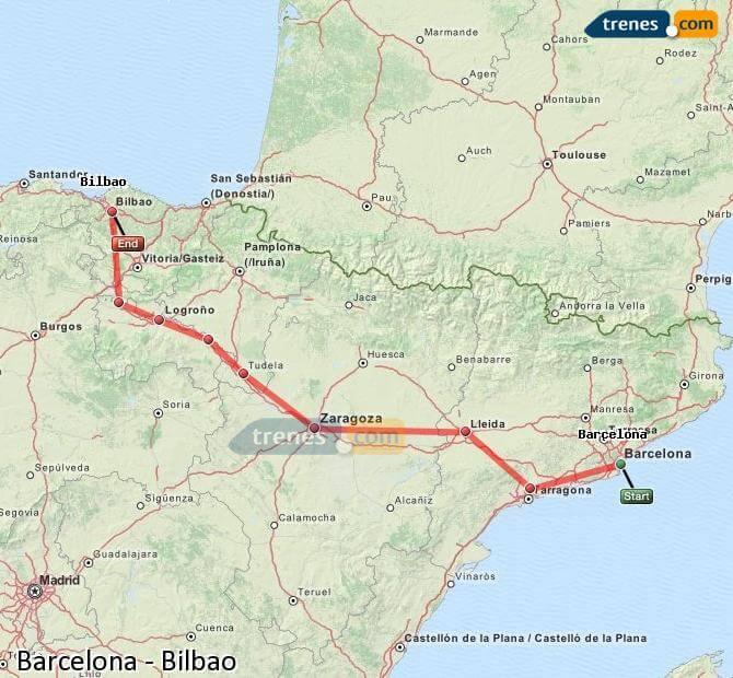 Mapa de trem de Barcelona e Bilbao