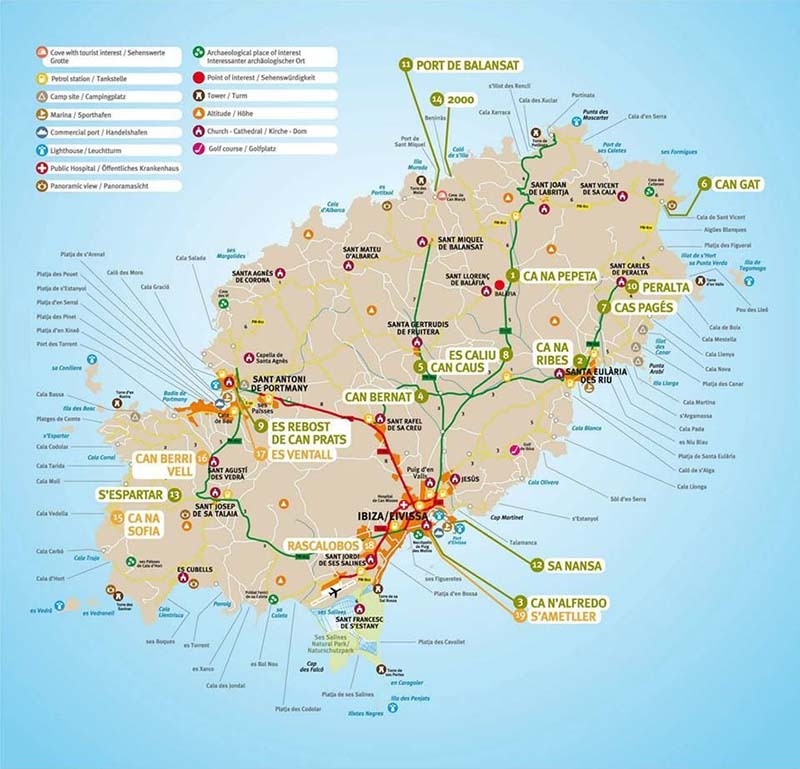 Mapa das praias em Ibiza