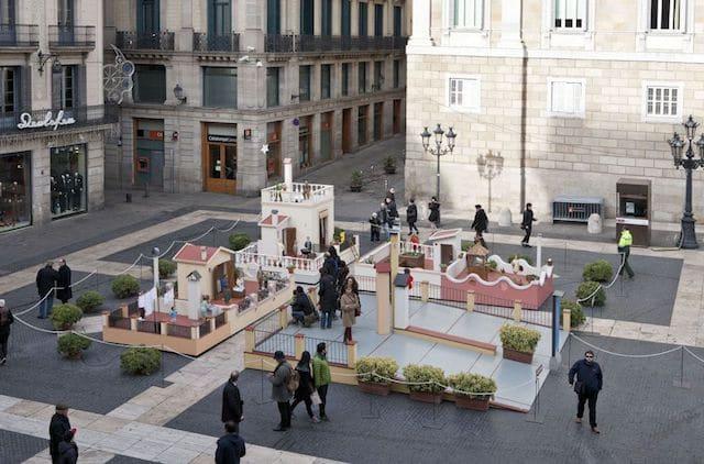 Presépio na Plaza St Jaume em Barcelona
