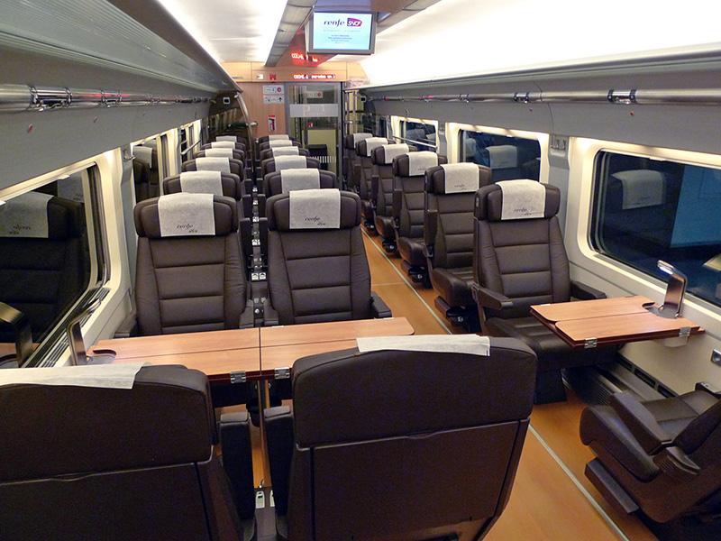 Interior trens RENFE na Espanha