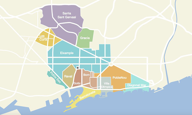 Mapa de bairros e regiões em Barcelona