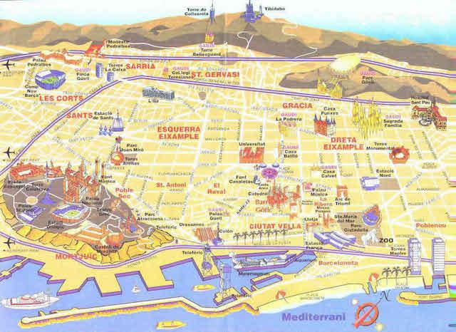 mapa barcelona espanha Mapa turístico de Barcelona | Dicas de Barcelona e Espanha mapa barcelona espanha