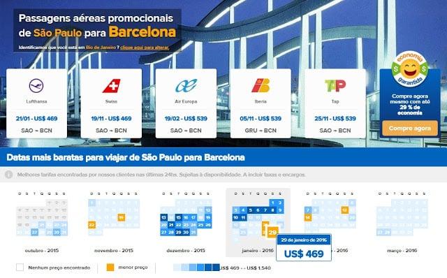Buscador de passagens em promoção para Barcelona