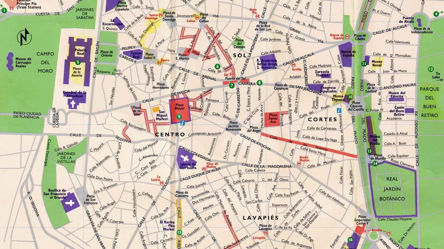 Mapa com as regiões mais turísticas em Madri