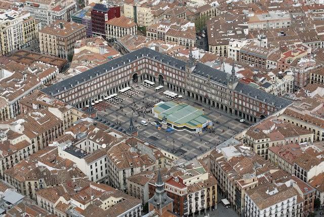 Vista aérea da Plaza Mayor de Madri