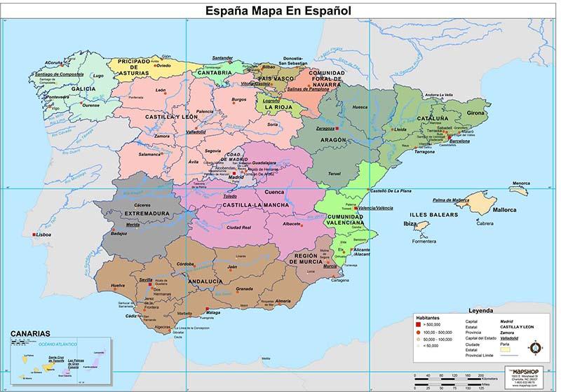 Mapa de regiões da Espanha
