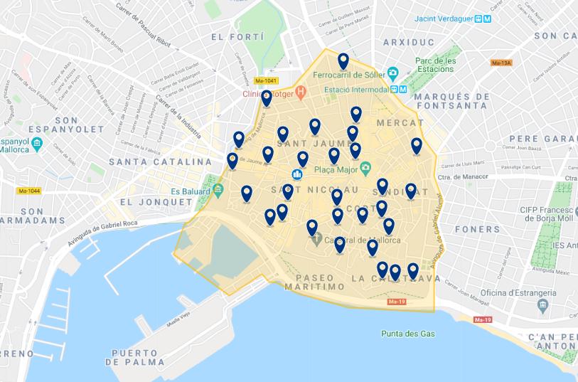 Mapa de onde ficar em Maiorca