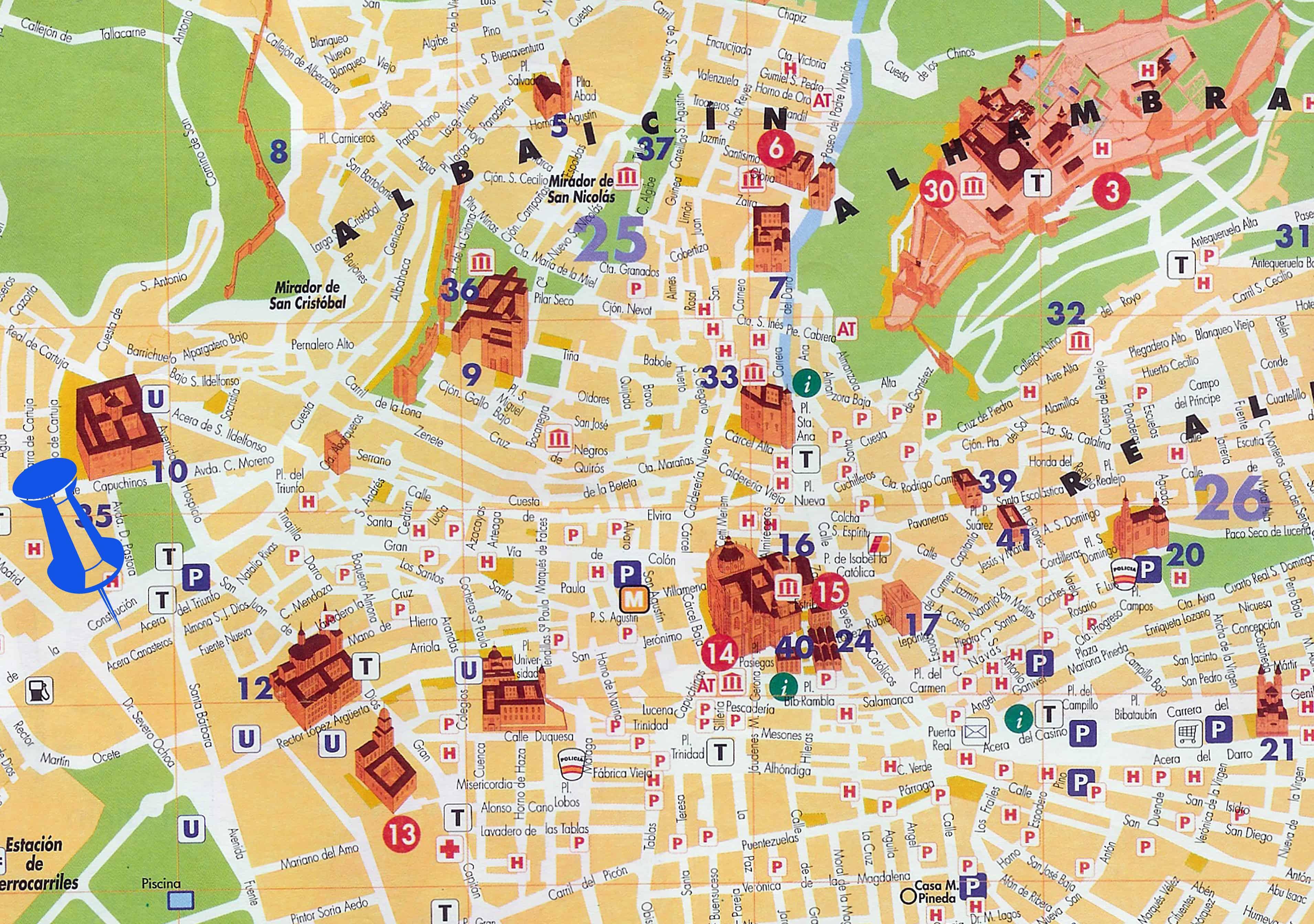 Mapa Granada - regiões