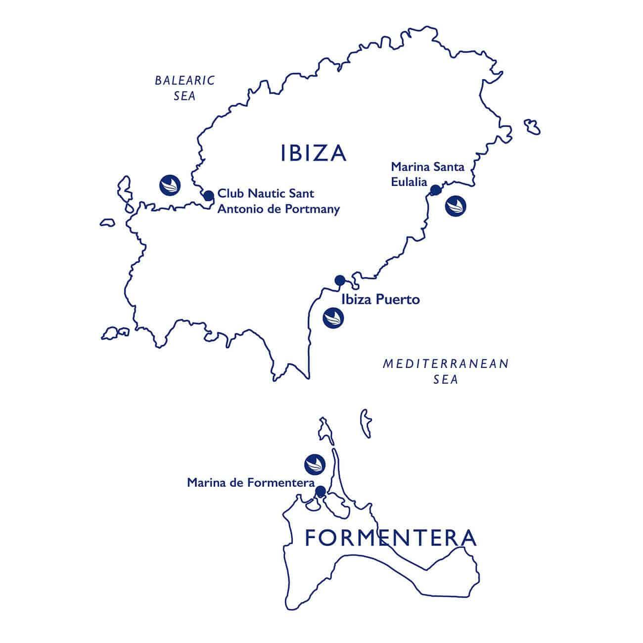 Mapa de como ir em barco de Ibiza a Formentera