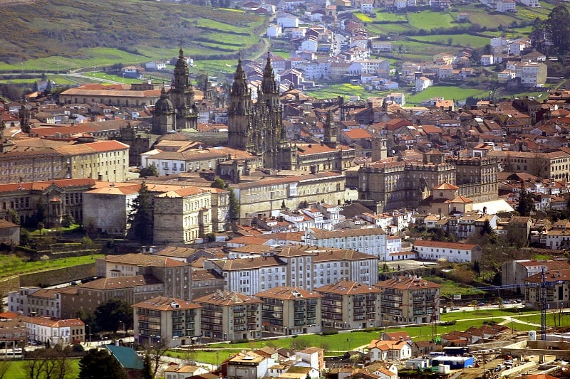 Vista do centro histórico de Santiago de Compostela