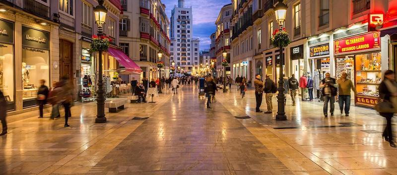 Centro de Málaga à noite