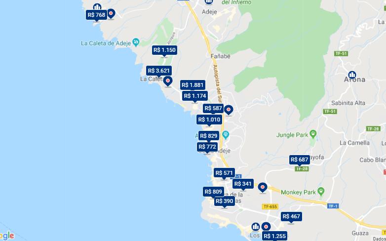 Mapa de onde ficar em Tenerife