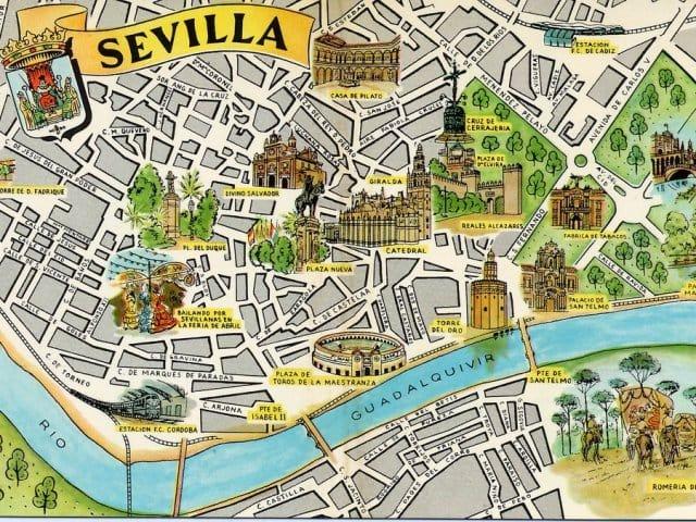 Mapa turístico de Sevilha