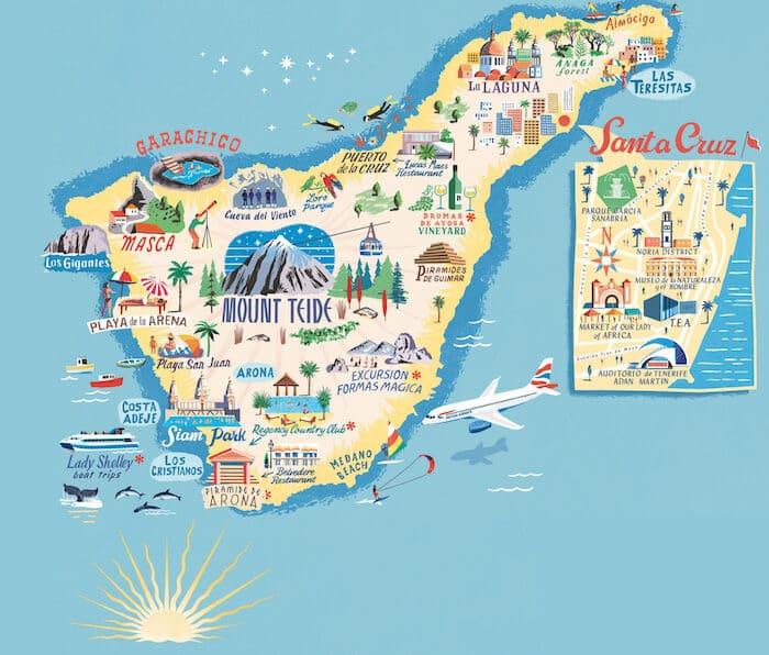 Mapa das regiões de Tenerife