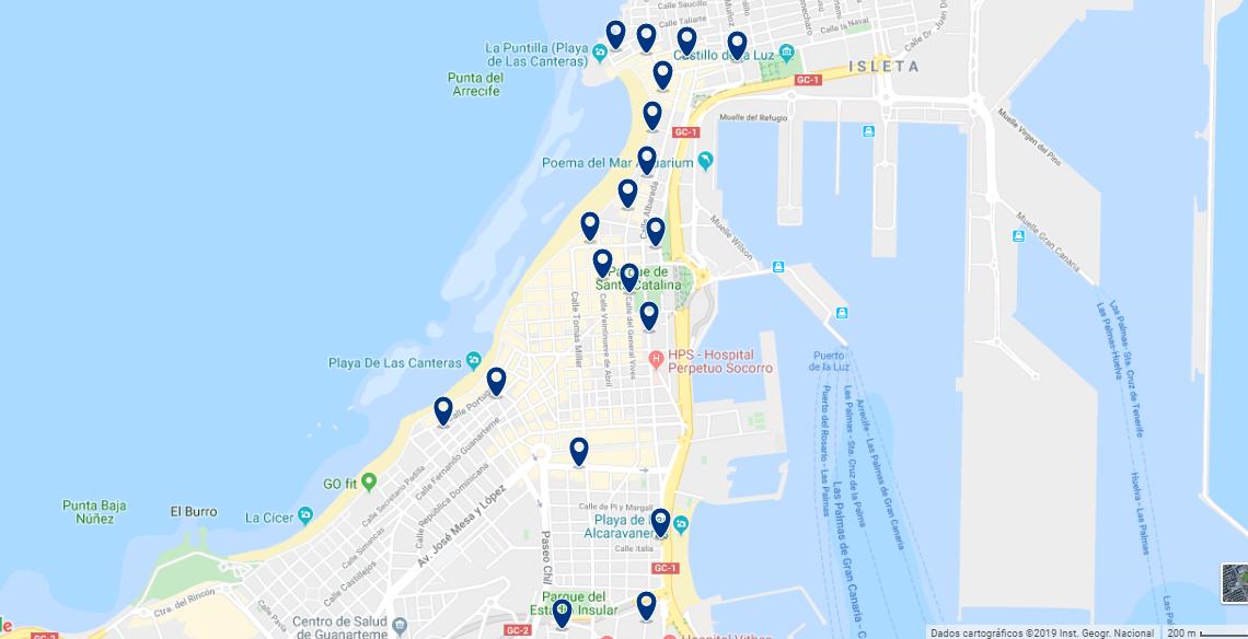 Mapa de onde ficar em Gran Canarias