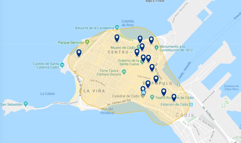 Mapa de onde ficar em Cádiz